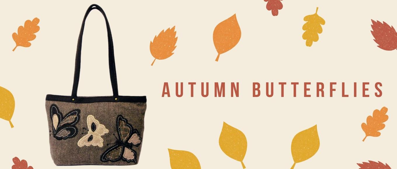 Butterflies herringbone shopper bag