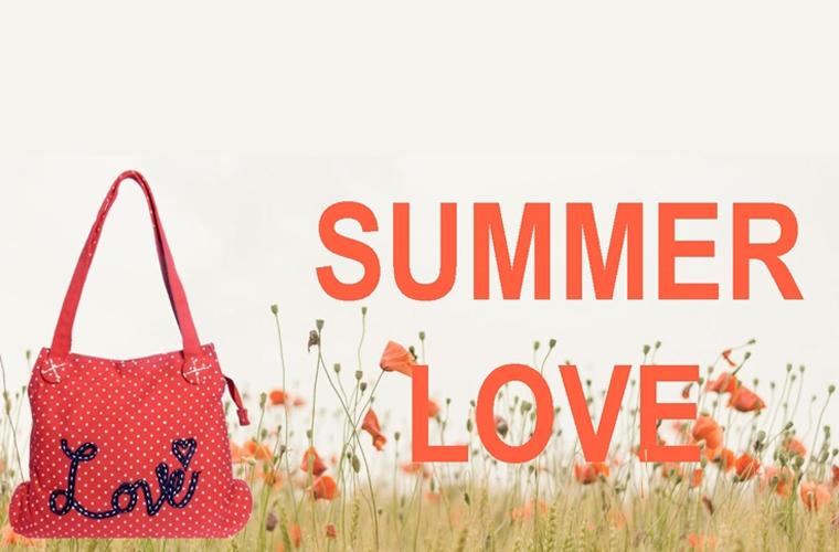 Red Love Polka dot Canvas bag