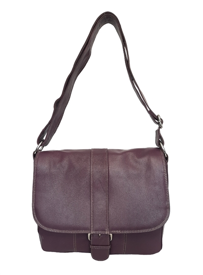 Purple leather flap over across body satchel