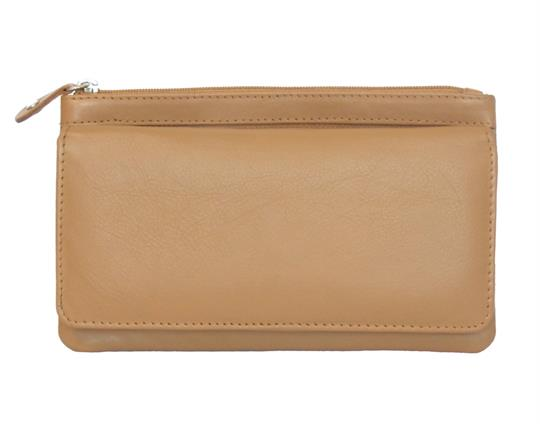 Tan Real leather two top zip pocket purse