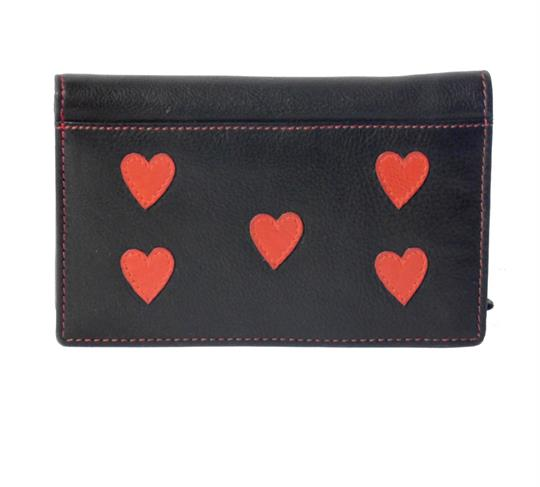 Real leather hearts applique purse
