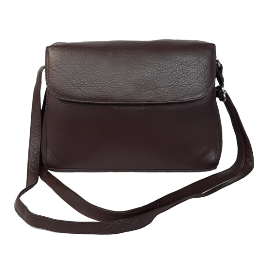 Brown leather across body organiser bag