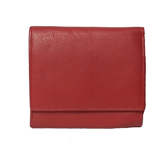 Red small leather square flap over purse
