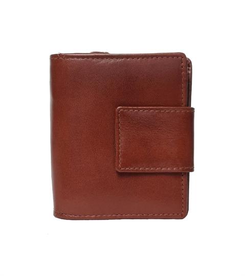Brown leather square closure purse