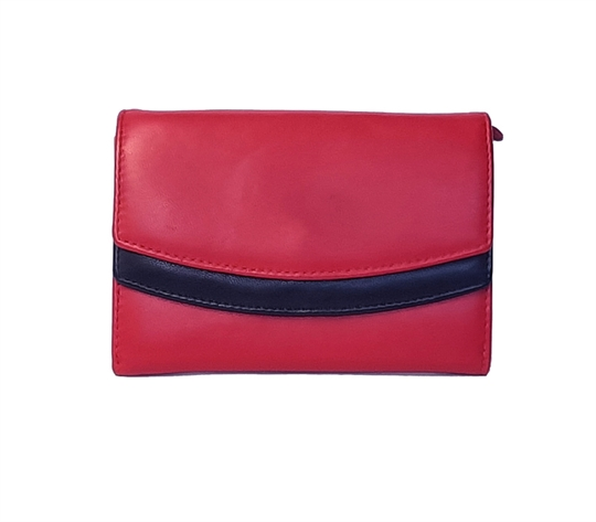 Red Real leather double curved flap purse