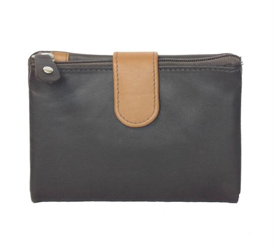 Brown Real leather single top zip purse