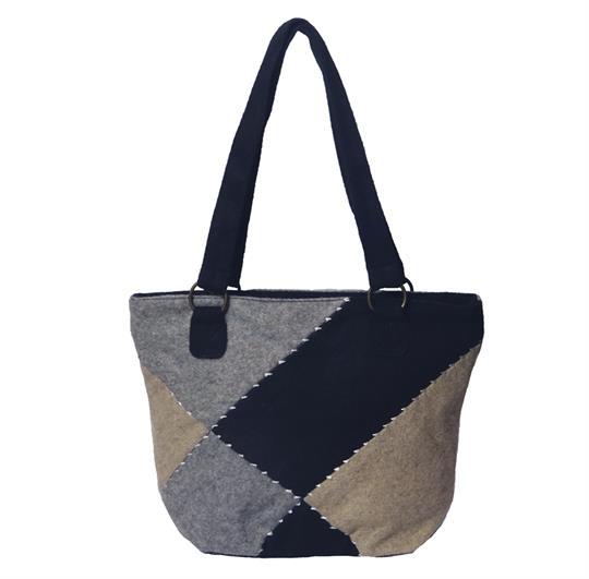 Grey patchwork felt wool small shopper bag