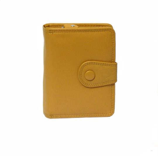 Mustard Real leather button detail purse