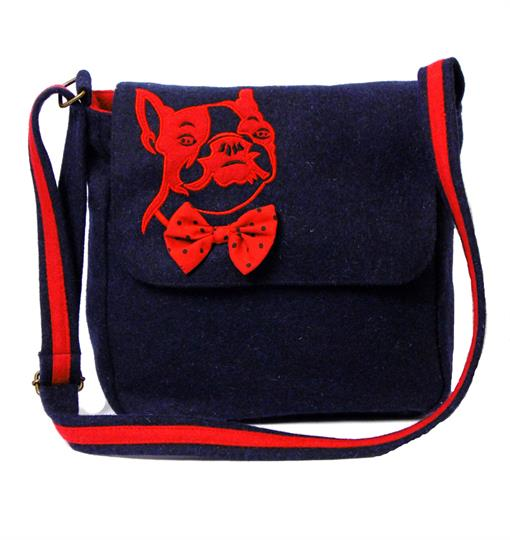 Navy Blue Bulldog across body bag