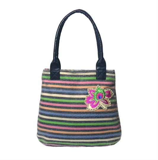 Black multi rainbow stripe tote handbag