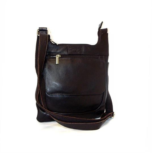 Brown leather front flap pocket across body bag