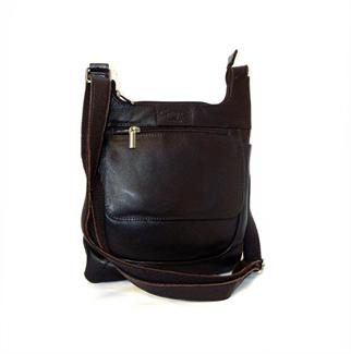 Real leather front zip pocket across body bag