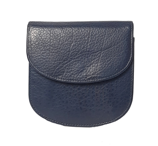 Navy Blue leather half round purse