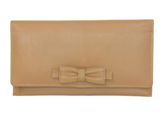 Tan Real leather large bow purse