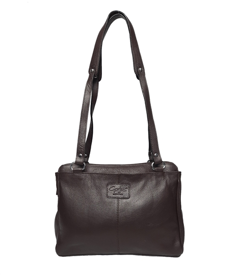 Brown leather three compartment shoulder bag