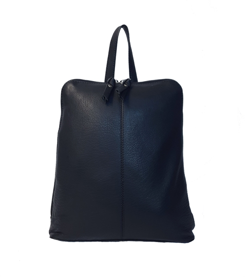 Black leather front stitch backpack