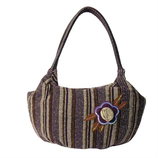 Brown Flower and stripes woven jacquard shoulder bag