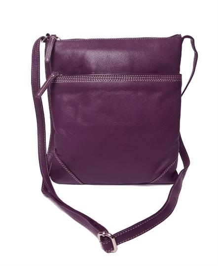 Purple leather stitch across body bag