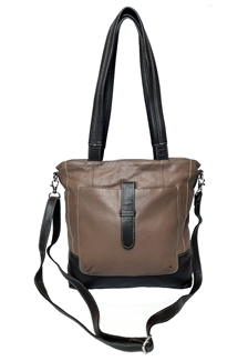leather front pouch shoulder bag