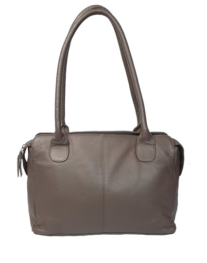 Taupe leather medium tote bag