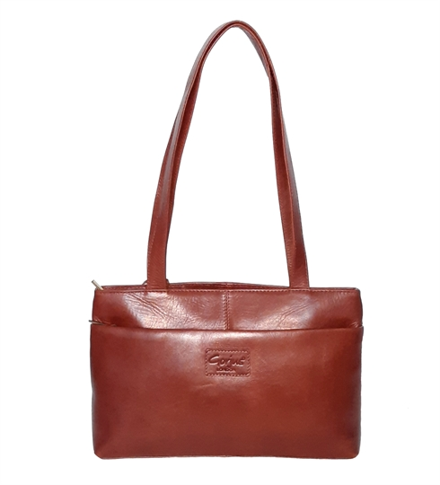 Brown leather tote handbag with pocket