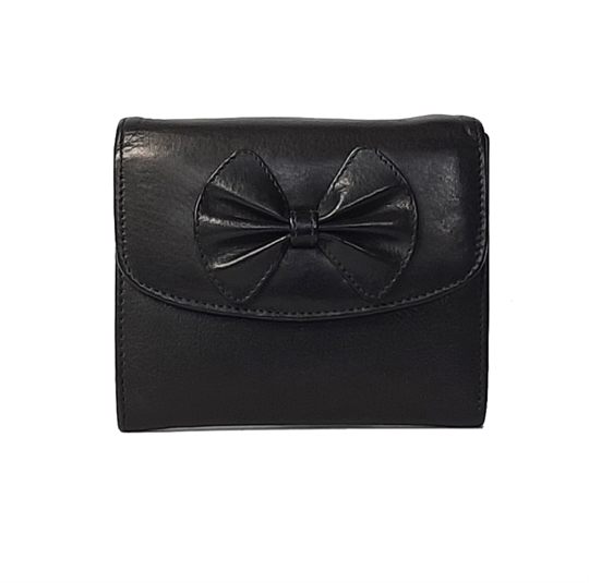 Black Real leather bow purse