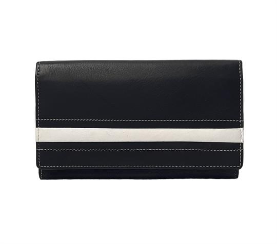 Black Real leather stripe applique purse