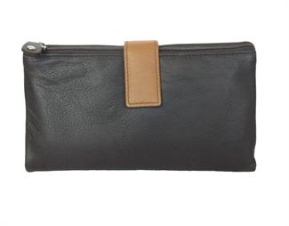 Real Leather large single top zip purse
