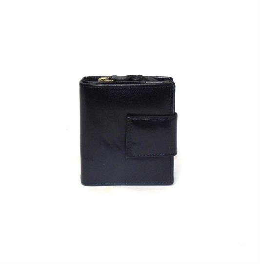 Black Veg tanned real leather square closure purse