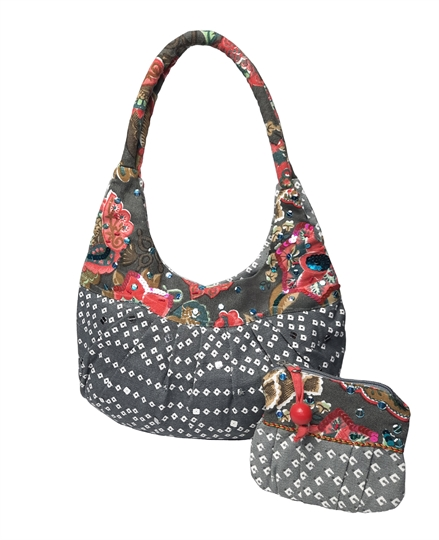 Grey diamonds and flowers embellished canvas bag