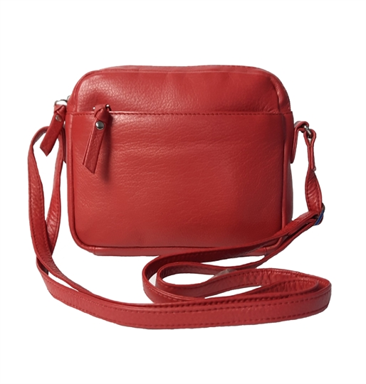 Red small leather front zip pocket across body bag
