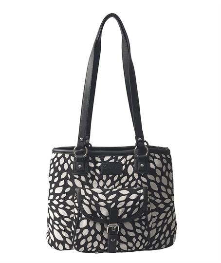 Black Leaf tapestry front pocket tote shoulder bag