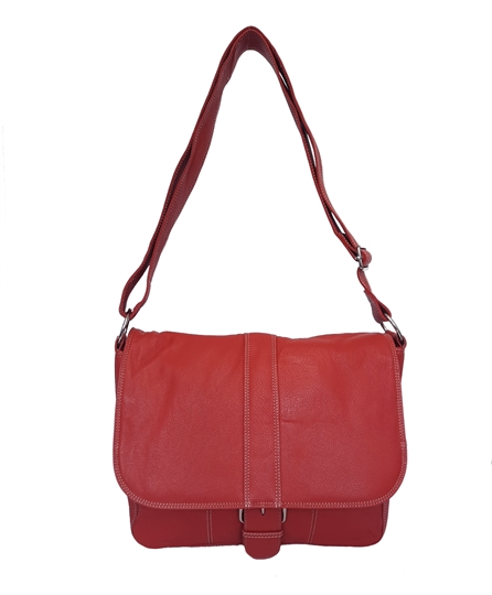 Red leather flap over across body satchel