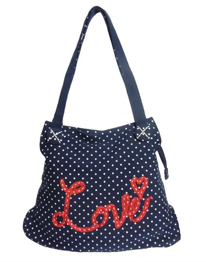 Navy Blue Love Polka dot Canvas bag