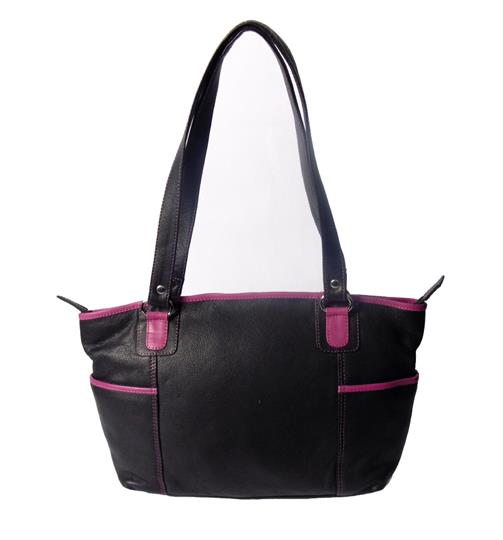 Black Real leather side pockets bag