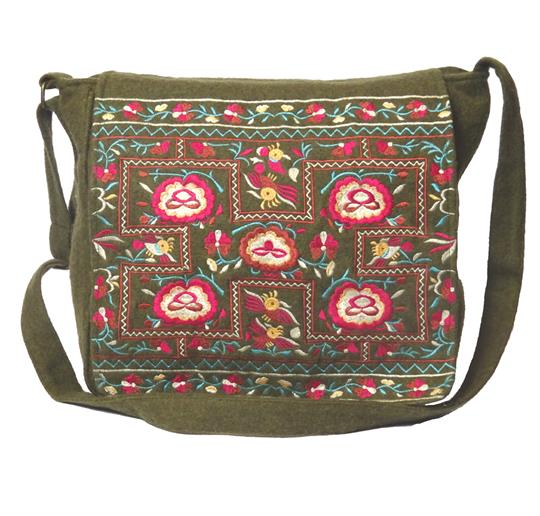 Olive flower power felt embroidered satchel