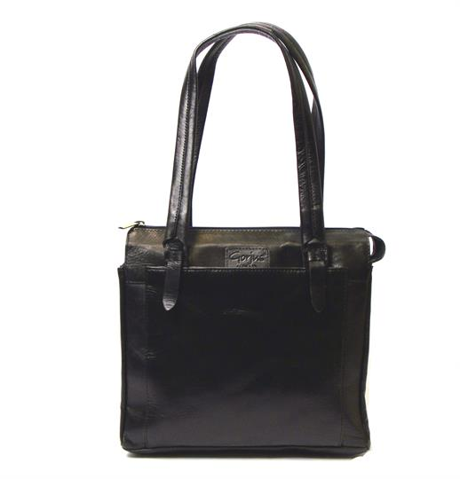 Black Veg tanned real leather square bag