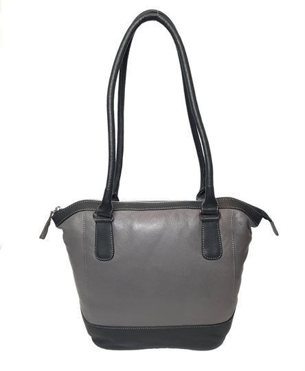 Grey leather two tone tote bucket bag