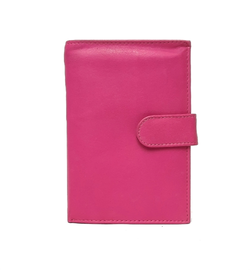 Pink Real leather popper closure purse