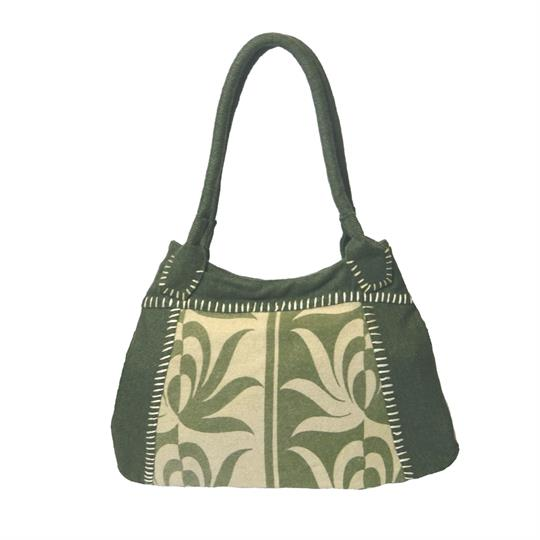 Green offset print felt tote shoulder bag