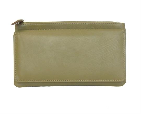 Green Real leather two top zip pocket purse