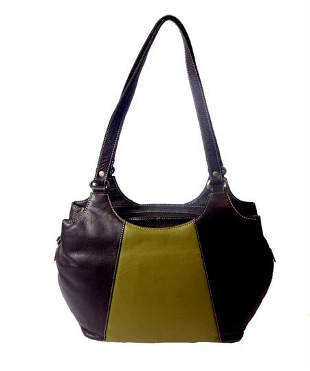 Brown Real leather two tone front panel shoulder bag