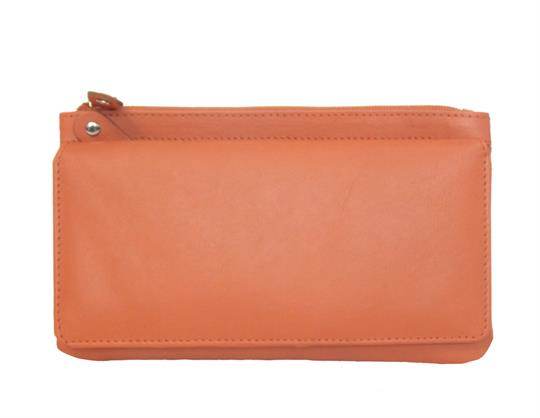 Orange Real leather two top zip pocket purse