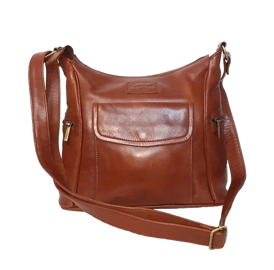 Brown leather across body bag with front flap pocket