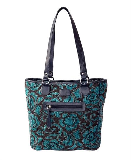 Teal Rose tapestry print shopper bag