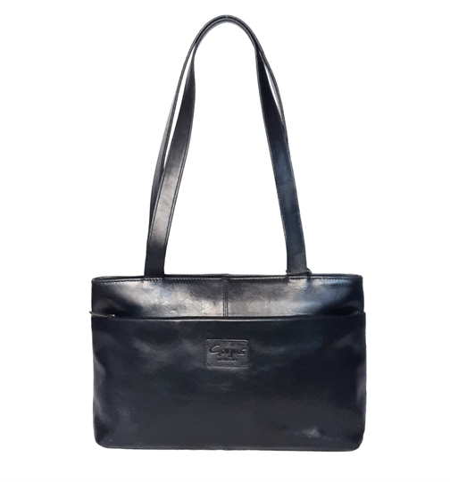 Black leather tote bag with zip pocket