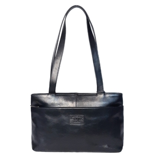 leather tote bag with zip pocket