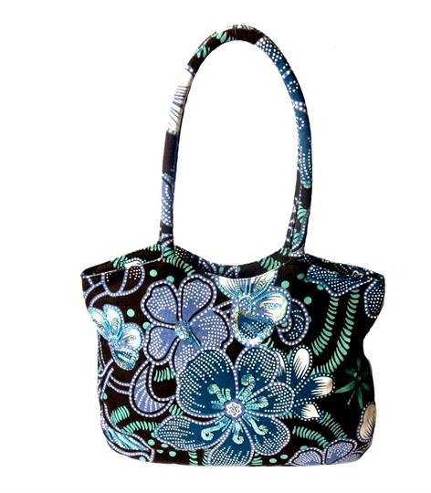 Olive flower power canvas shopper bag