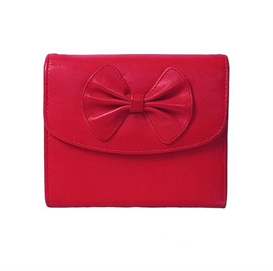 Red Real leather bow purse