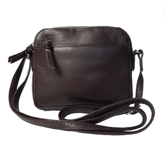 Brown small leather front zip pocket across body bag